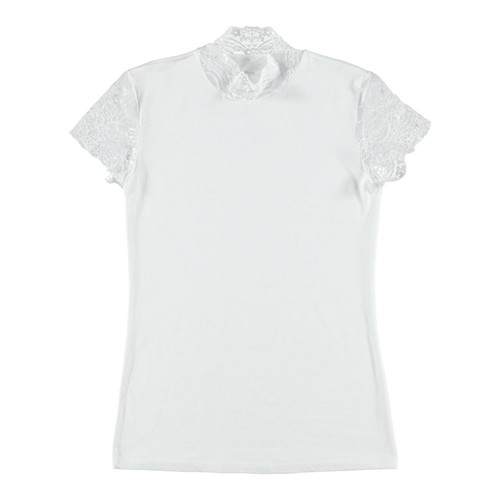 Shirt mit Spitzenärmeln - weiß Small