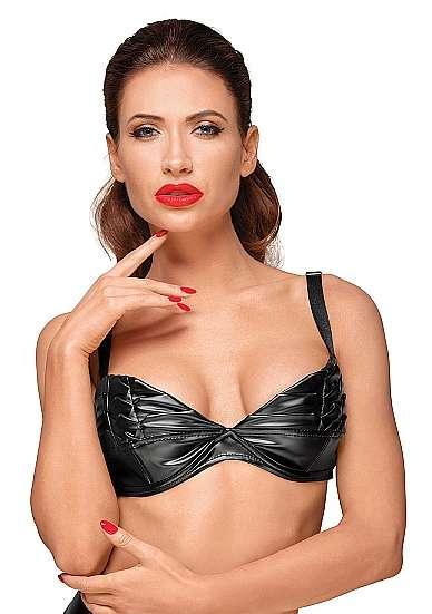 Wetlook bra with handmade pleats - Black