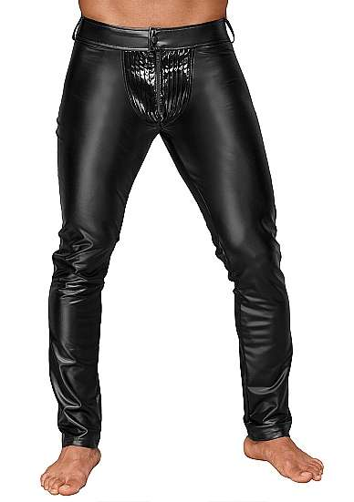 Wetlook trousers with PVC pleats - XXL - Black