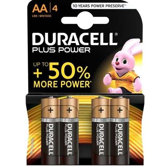 DURACELL PLUS POWER BATTERY AA LR6 4UNITS