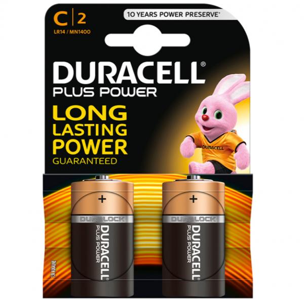DURACELL PLUS POWER BATTERY C LR14 2 UNITS